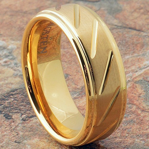 wedding band 14k gold tungsten mens ring - Tungsten Mens Wedding Rings