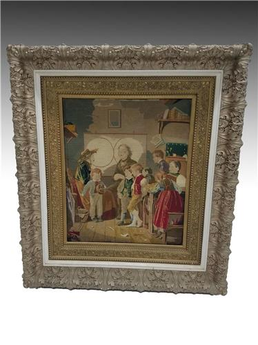 19526 Victorian Framed Needlepoint Picture