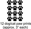 12 Cat Dog Animals Paw Prints Picture Art Childrens Room Vinyl Wall Decal 15x12