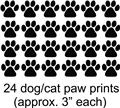 24 Cat Dog Animals Paw Prints Picture Art Childrens Room Vinyl Wall Decal 20x24