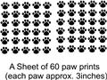 60 Cat Dog Animals Paw Prints Picture Art Childrens Room Vinyl Wall Decal 20x30