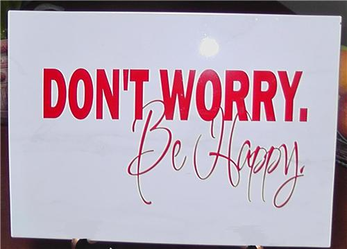 Don't Worry Be Happy Vinyl Decal Quote / Picture Art On Decorative Ceramic Tile 10x14 Without Stand