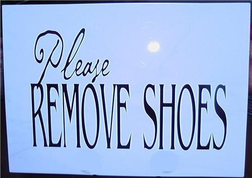 Please Remove Shoes Vinyl Decal Quote / Picture Art On Decorative Ceramic Tile 12x12 Without Stand