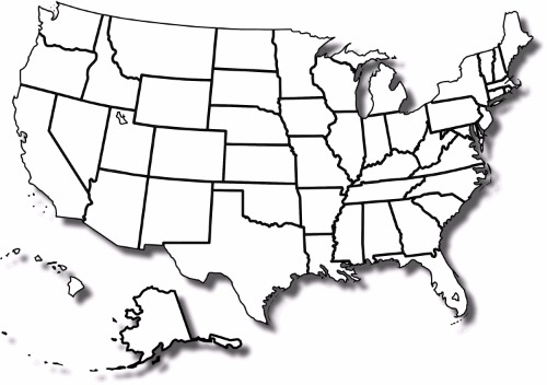 BLANK UNITED STATES MAP POSTER PICTURE PHOTO BANNER states capitals usa us