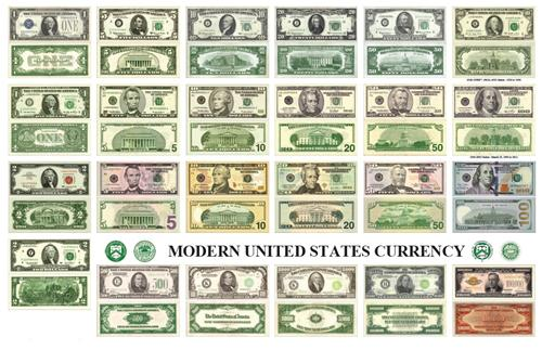 United States Currency Glossy Poster Picture Photo Money Dollars Bills Modern
