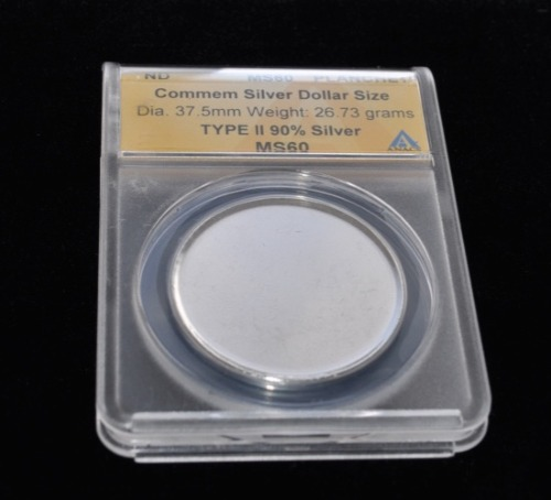 1 ND SILVER DOLLAR PLANCHET ANACS MS-60 OBV