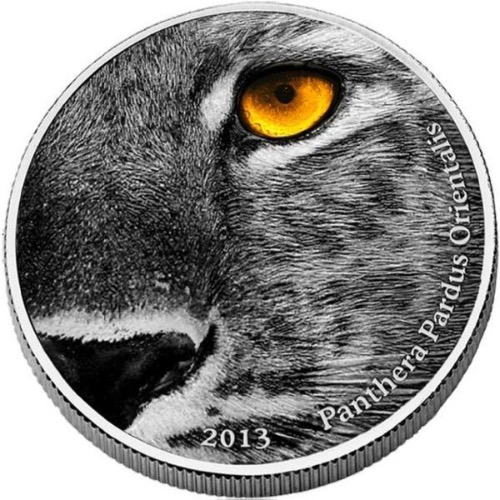 2013 CONGO AMUR LEOPARD-PANTHERA PARDUS. 2 OZ .999 ANTIQUE, NATURES EYES 999 Minted Obv