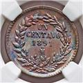 1891MO MEXICO 1 CENTAVO NGC MS-65 OBV