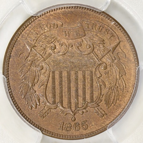1865 2 CENT PCGS MS-64 BN OBV 1