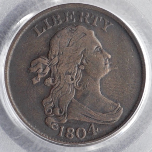 1804 SPIKED CHIN 1:2 CENT PCGS XF-40 OBV 1