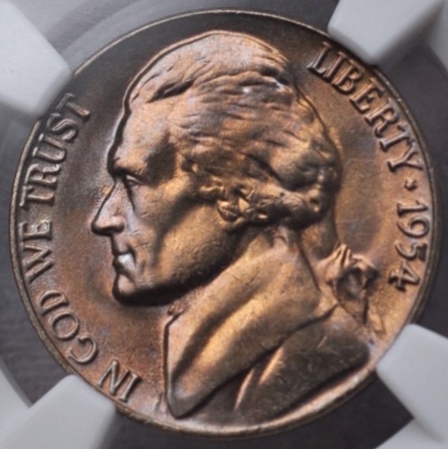 1954 5C TONED NGC MS-66 OBV 1