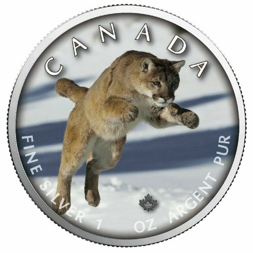 2019 Canada Maple Leaf Colorized Cougar Leaping .999, 2,500 Minted Obv