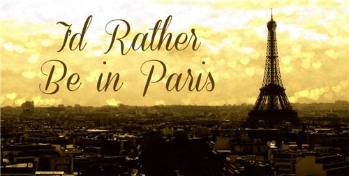 I WOULD RATHER BE IN PARIS EIFFEL TOWER SCENE LICENSE PLATE CAR AUTO TAGS NEW