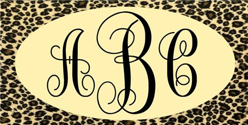 PERSONALIZED LEOPARD PRINT LICENSE PLATE CHEETAH MONOGRAMMED AUTO TAGS BROWN