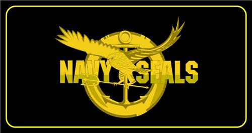 US NAVY SEALS LICENSE PLATE BLACK & GOLD EAGLE LOGO MILITARY AUTO CAR TAGS NEW