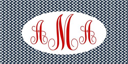 MONOGRAMMED BLUE CHEVRON PRINT LICENSE PLATE PERSONALIZED CUSTOMIZED AUTO TAGS
