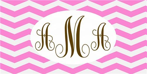 MONOGRAMMED CHEVRON PRINT LICENSE PLATE PERSONALIZED CUSTOMIZED AUTO TAGS PINK