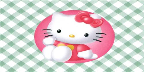 HELLO KITTY LICENSE PLATE PINK BLUE GREEN WHITE CHECKED PLAID PATTERN AUTO TAGS