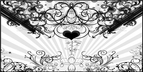 Black and White Heart Hearts Scroll Print License Plate Car Auto Tags