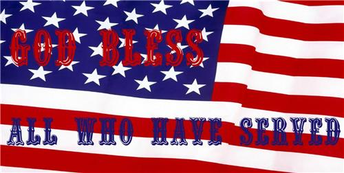 GOD BLESS ALL WHO HAVE SERVED VETERANS DAY MILITARY AMERICAN FLAG LICENSE PLATE