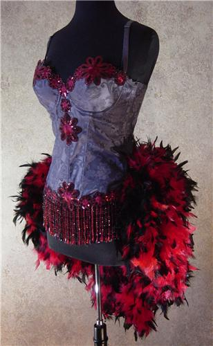Gray, Red, & Black Daisy Moulin Burlesque Costume