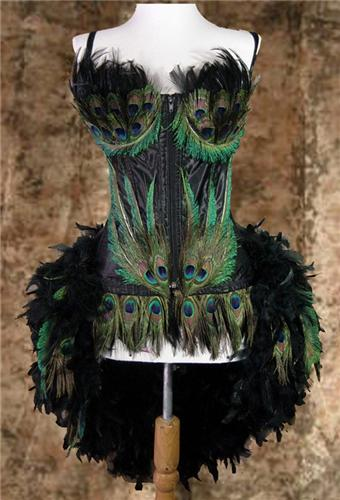 Deluxe Peacock Eye Feather Moulin Burlesque Costume Also In Plus