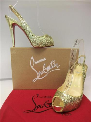 huge discount d40f4 c26b2 Christian Louboutin New No Prive 120 Gold Glitter Slingback Shoes Size 36.5