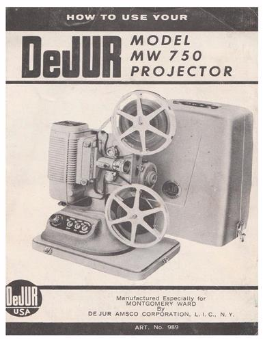 VINTAGE DEJUR 750, MW750, 8mm PROJECTOR MANUAL - PDF- emailed