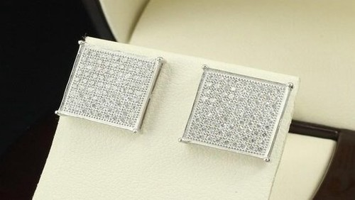 Men Womens Sterling Silver 925 Square Earrings With Backs Size 13 5mm