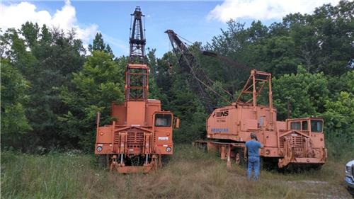 TWO AMERICAN 55 TON LATTICE BOOM CRANES WITH PILE DRIVERS