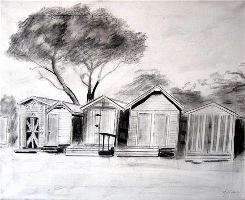 'Brighton Beach Huts' Original Graphite/Ink/Acrylic Sketch on Canvas 50X40cms