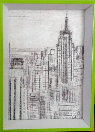 Framed 'New York' Ink/Graphite Artwork  19x13cms by Aussie artist  Gill Fahey