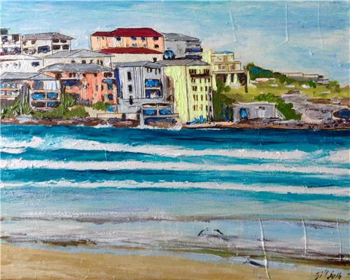 'Seagulls on Bondi Beach' Acrylic Painting on Canvas /Brisbane Artist Gill Fahey