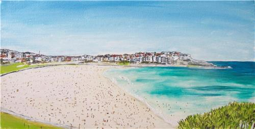 'Bondi Beach Views' Original  Ink and acrylic painting on gallery wrapped canvas