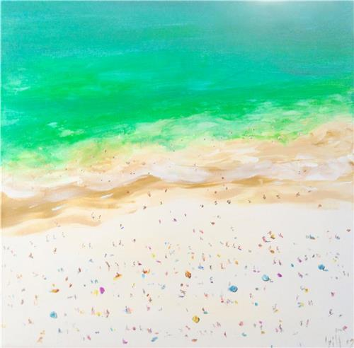 'Aerial View Bondi Beach' Ink/Acrylic Painting on Canvas/ Artist Gill Fahey