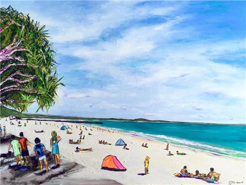 'Holidays at Noosa'  Acrylic Painting on Canvas/Artist Gill Fahey
