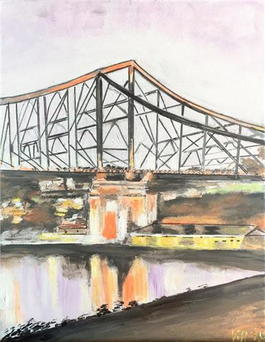 'Story Bridge Brisbane' Original acrylic & ink painting/ready to hang