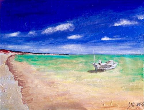 'Calming Waters' Textured Acrylic Painting/Beach Art
