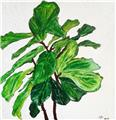 'Fantastic Fiddle-Leaf Fig' Textured Acrylic Artwork