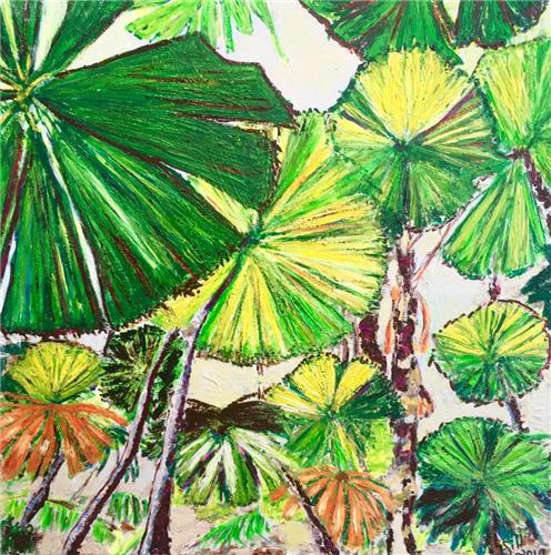Fan-Palm Day Original/Acrylic/Ready to Hang