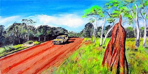 "'ON THE ROAD AGAIN.....' 60X30cms/24"" X12"" NEW Gillian Fahey ORIGINAL"