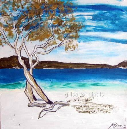 "Lake McKenzie  30X30cms/12""x12""GILL FAHEY INK/ACRYLIC LANDSCAPE/WATERSCAPE"