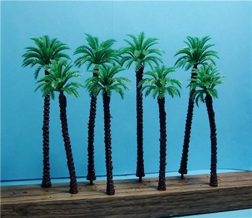 "HO Scale-Scale Model Coconut Palm Trees-2 Sizes-3 1/2"" & 4 3/8""-8 Pieces-4 of Each"