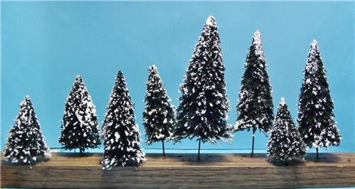 """Multi Scale Use-Authentic Snow Covered Douglas Fir Tree Assortment-4 Sizes-2 3/8"""" to 4 3/4"""""""