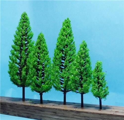 Multi Scale Use-Authentic Scenery-16 Pc Set-Full Leaf Light Green Pine Trees-5 Sizes