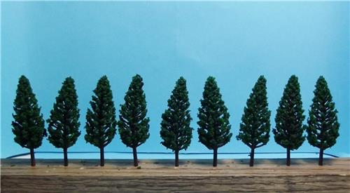 "Multi Scale Use-Authentic Scenery-Dark Green Pine Trees-1 Size-2 9/16""-10 Pieces"