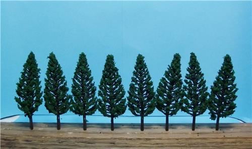 "Multi Scale Use-Authentic Scenery-Dark Green Pine Trees-1 Size-3 1/8""-8 Pieces"