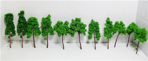 Multi Scale Use-Authentic Scale Model Green Tree Assortment-5 Sizes-11 Pieces Total