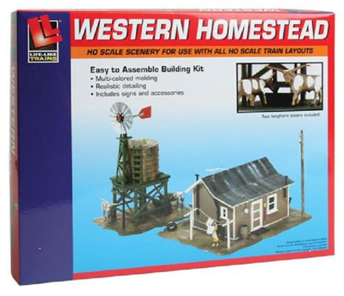 HO Gauge-Life Like-433-1338-Model Railroad Building Kits-Western Homestead Kit