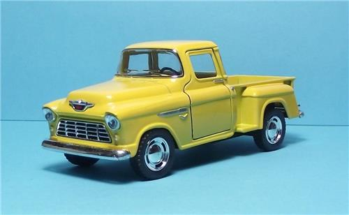 "1955 Chevy Stepside P/up-5"" Die Cast Metal w/Pull Back Power & Opening Dr-Yellow"